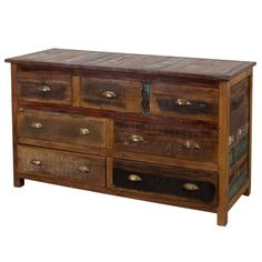 This unique 7-drawer chest features a natural reclaimed teak wood construction with a stripped finish that will lend a rustic, industrial feel to your interior. Handcrafted by artisans in central India, this piece is sure to add character to your home.