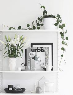 Urbis | The Black + White Issue Interior Design Vignette, Interior Styling, Estilo Interior, String Shelf, Scandinavian Interior, Scandinavian Shelves, White Rooms, White Bedroom, Black And White Interior