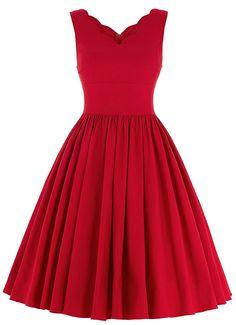 $19.30  Vintage Scalloped V Neck Formal Dress - Red