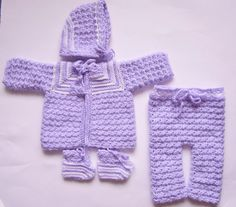 Crochet Baby Outfit, Newborn, Coming Home Outfit, Girl Coming Home, Purple Layette, Girl Sweater Set, Baby Sweater Set, Newborn Coming Home