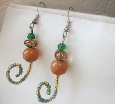 Upcycled Earrings with Surgical Steel Hooks--Nature's Spiral Whimsical Spiral Earrings with Tan and Emerald Green Beads