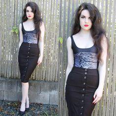 Lovelysally Bodysuit, Thrifted Fitted Skirt, Ardene Pointed Toe Heels - Buttons - Abbey Egeland