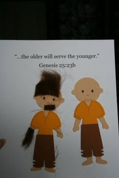 Jacob and Esau craft - this blog has lots of bible craft ideas. Used Indian men from Tgiving from Hobby Lobby