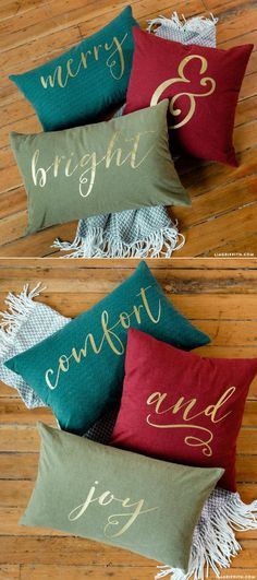 Reversible Holiday Pillows. SVG file for iron-on at LiaGriffith.com
