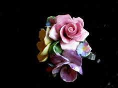 Coalport floral china bouquet brooch, vintage bone china, made in England, light pink, yellow, green, 2 inches round