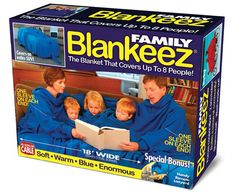 Blankeez™ is the enormous ultra-soft blanket that covers up to 8 adults or 16 children! With one sleeve at each end two users can run a remote feed snacks to others or hold a leash while walking the d