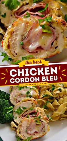 Looking for the best chicken recipes for dinner? This Chicken Cordon Bleu Pasta is a delicious casserole of chicken, sweet ham, swiss cheese, rigatoni pasta, and cream sauce. Try this main dish idea! Easy Dinner Recipes, Yummy Recipes, Meat Recipes, Dinner Ideas, Yummy Food, Chicken Cordon Bleu Pasta, Best Chicken Recipes, Turkey Recipes, Kitchens