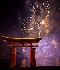 Torii Gate & Fireworks, Japan