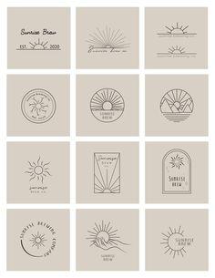Vintage Web Design, Sunshine Logo, Massage Room Design, Massage Logo, Sunset Logo, Branding Design, Logo Design, Cute Tiny Tattoos, Yoga Logo