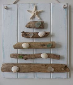 driftwood christmas tree - seaglass shells starfish - recycled wood - rustic beach house decor - beach christmas on Etsy, $42.00