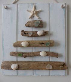 driftwood christmas tree - seaglass shells starfish - recycled wood - rustic beach house decor - beach christmas on Etsy, $42.00