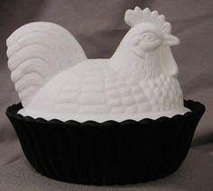 Milk glass & satin rooster dish