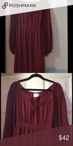 M.S.S.P. MAX STUDIO PLUS SIZE dress CHIC burgundy and on trend peasant like knee length dress. Has elastic waist and at wrist. Cute tie string detail at the scoop neck. Dress is lined and material is poly and has a subtle sheerness to it but is not see through. This is a junior plus item. WORN 2x. color is burgundy/wine ENJOY FASHION 😘 M.S.S.P. (Max Studio plus) Dresses