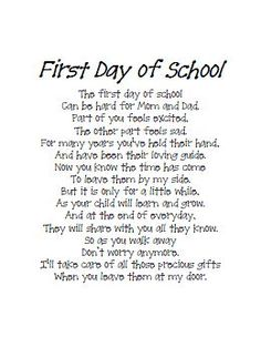 O.K. parents from a teachers perspective.  We are just as excited, scared, nervous, and anxious to begin a new school year also.  We love your children as if they were our own (sometimes they are, or become family!)  So we feel  your feelings of joy, concern, sadness, excitement, and worry when you leave your child at our door.  So let's work together and make this a successful year!   I promise to love your child, wipe away tears, give hugs when needed and calm those fears!