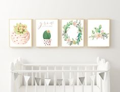 Cactus and succulent wall prints for little girls nursery, Printable Wall Decor