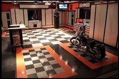 This is the RaceDeck patent TuffShield Garage flooring - very cool garage for sure. http://www.racedeck.com #racedeck #garagefloors #garagefloor #mygaragemakesmehappy #coolestgarageontheblock