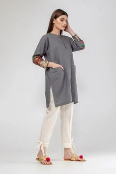 Summer/Spring Collection 2020 - Khaadi has a wide range of Ready to wear, Luxury Pret, Unstitched dresses for women and men Simple Pakistani Dresses, Pakistani Fashion Casual, Pakistani Dress Design, Stylish Dress Book, Stylish Dress Designs, Latest Outfits, Latest Clothes, Latest Dress, Dress Design Sketches