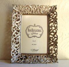 Detailed Wide Framed 5x7 Gold Brass Vintage Metal Picture Frame Filigree