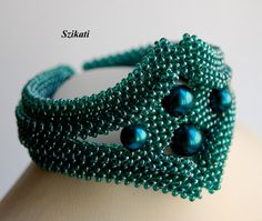 Elegant Teal Seed Bead Bracelet with Pearl, Art Beadwork, Original Women's Beadwoven High Fashion Jewelry, Unique Holiday Gift for Her, OOAK Seed Bead Necklace, Seed Bead Bracelets, Seed Bead Jewelry, Jewelry Art, Beaded Jewelry, Women Jewelry, Fashion Jewelry, Jewelry Design, Seed Beads