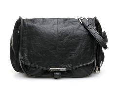 Iris satchel/messenger-style bag in black leather with rhodium hardware, by Alexander Wang
