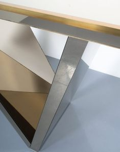 Zigzag Mirror Artisan Brass Console Table Italy, circa 1970