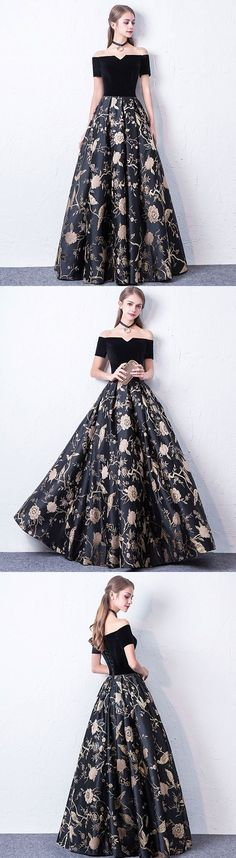 #Black #Floral #Gown #Dresses #Prom #PartyDress #EveningWear