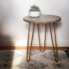A Gilded Home Collection - Concrete and Gold Metal End Table