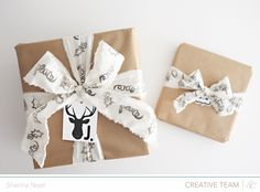 Love that ribbon!  Could use torn sheets, fabric, or actual ribbon ;o) and stamp away.  Great project to do with the girls.  Shanna Noel for Studio Calico via Moxie Fab World/Smitha Katti Post