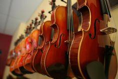 some violins.