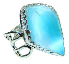 $73.25 Dominican Republic! Light Blue Larimar Sterling Silver Ring s. 10 at www.SilverRushStyle.com #ring #handmade #jewelry #silver #larimar