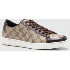 Gucci Brooklyn Gg Supreme Canvas Sneaker ($465) ❤ liked on Polyvore featuring shoes, sneakers, women's shoes, beige shoes, canvas footwear, gucci shoes, plimsoll sneaker and gucci
