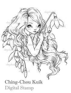 Snow Drop - Digital Stamp Instant Download / Snow Bell Flower Girl Lady Fantasy Art by Ching-Chou Kuik
