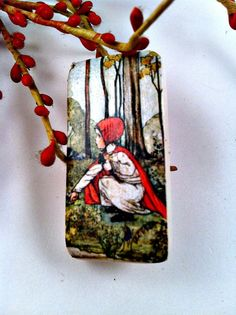 Vintage Domino Red Riding Hood Brooch Pin by ConstantlyAlice, $5.00