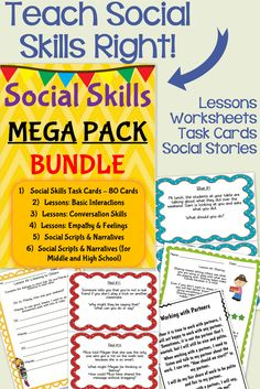 Social Skills Mega Pack - Over 175 pages of social skills lessons, task cards, worksheets, and social stories all focused on helping students with social skills.