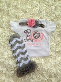 Grey and pink chevron elephant birthday outfit - 1st birthday shirt and headband - chevron leg warmers and headband