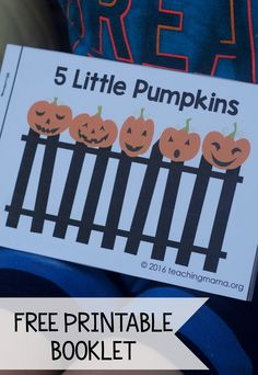 Five Little Pumpkins – Free Rhyme Booklet. This is great for children to have their own copy of the poem to read. Free printable booklet for the rhyme, Five Little Pumpkins. Great to use for Halloween! Fall Preschool Activities, Preschool Literacy, Pumpkin Preschool Crafts, Halloween Crafts For Kindergarten, Halloween Poems For Kids, Preschooler Crafts, Kindergarten Literacy, Teaching Activities, Early Literacy