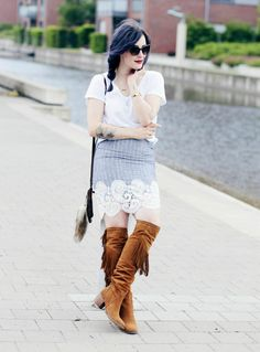 Denim lace skirt with Like a Riot