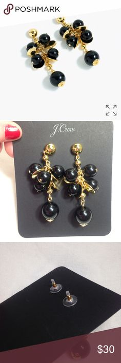 NWT J.Crew cluster drop earrings Just call this J. NEW because these puppies are NWT! Awesome funky yet elegant earrings with black beads and gold accents. Also available in white! J. Crew Jewelry Earrings