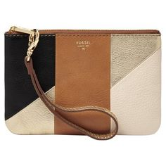 Women's Fossil Colorblock Leather Wristlet ($48) ❤ liked on Polyvore featuring bags, handbags, clutches, leather wristlet, brown purse, brown leather pouch, fossil clutches and brown leather wristlet
