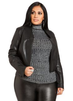 Ashley Stewart Women's Plus Size Open Front Faux Leather Jacket - http://fashionable.allgoodies.net/2014/07/ashley-stewart-womens-plus-size-open-front-faux-leather-jacket/