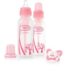 Dr. Brown's Natural Flow 8oz. Baby  Bottles, Pink, 2-pack and Pacifier, BPA-Free - Walmart.com