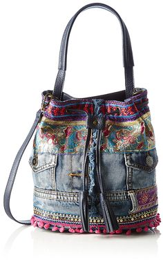 Desigual Bag Arosa Ethnic Deluxe, Blue Shades for sale Denim Bags From Jeans, Denim Tote Bags, Denim Purse, Patchwork Bags, Quilted Bag, Denim Handbags, Purses And Handbags, Mochila Jeans, Boho Bags