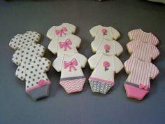 Sweet Melissa's Cookies: Baby Shower Cookies: Pink and Gray Onesies