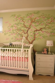 Tree Blossom Nursery Mural - Tree Detail - Hand Painted Wall Murals - San Francisco, San Jose, Palo Alto - Murals by Morgan