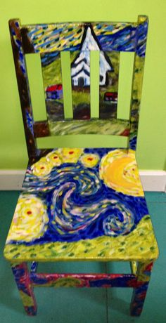 Van Gogh inspired painted chair