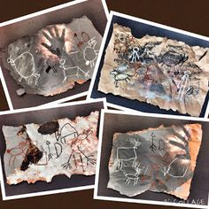 Gr. K: Ancient Cave Art | WEST MIDDLETON ART SMARTIES (tempera and oil pastel, metallic bronze watercolor spray for handprints)