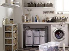 buanderie charme salle de bains => Faire que le plan de travail puisse faire office de table à repasser !