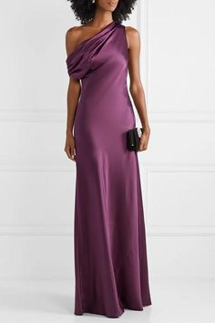 Cushnie One-shoulder Draped Silk-satin Gown - Plum , Satin Gown, Silk Satin, Silk Dress, Dress Up, Evening Outfits, Evening Gowns, Isabel Marant, Jimmy Choo, One Shoulder Gown