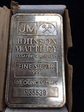 JOHNSON MATTHEY 100 TROY OUNCE.999 PURE SILVER BAR  VINTAGE FROM THE 80'S