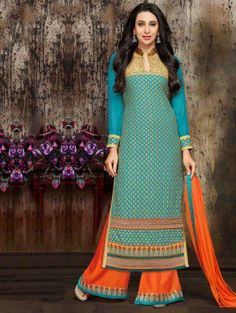 Blue Georgette Suit with Embroidery Work